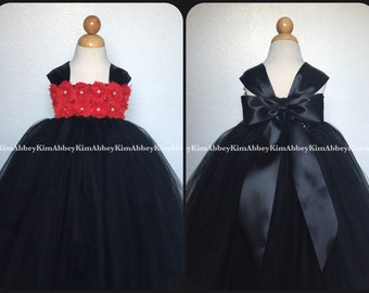 Flower girl tutu dress black red shabby