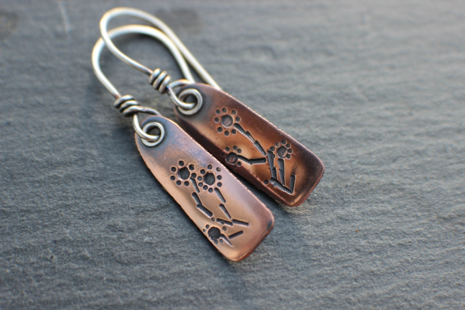 Stamped Copper Tab Earrings Metalsmith Artisan Jewelry