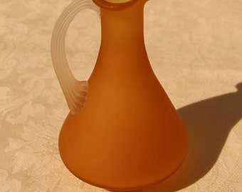 Vintage Frosted Amber pitcher with a ruffled spout & a handle