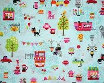 Kokka Fabric ~ Japanese Fabric ~ Cats Cafe ~  Dog Poodle kitty ~ Aqua Blue Fabric ~ Quilt Fabric ~ Apparel Fabric ~ Home Decor Fabric