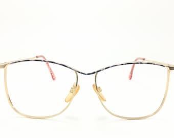 Vintage 80s Glasses | Gold Metal Oversized Eyeglass Frame with Purple Crackle Browline | 1980s NOS Eyeglasses - Bettie