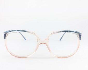 80s Vintage Eyeglass Frame | NOS Clear and Blue Crackle Glasses | 1980s Safilo Eyeglasses - Contempora 865