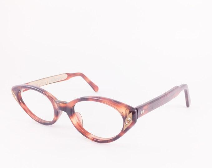 60s Vintage Cateye Eyeglasses | 1960s Tortoiseshell Cat Eye Eyeglass Frame | NOS Eyeglass Frame | Deadstock Eyewear - Silvana Jewel