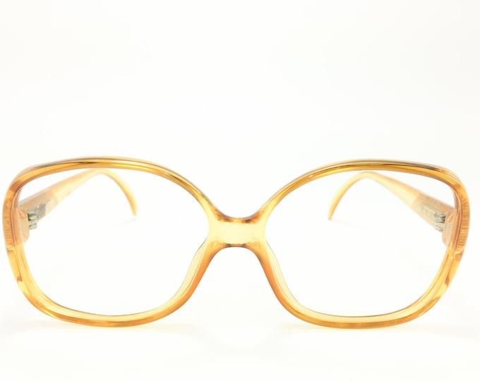 Vintage 80s Glasses | NOS Clear Oversize Yellow Eyeglass Frame | 1980s Pattern Temple Detail Eyeglasses - 3062