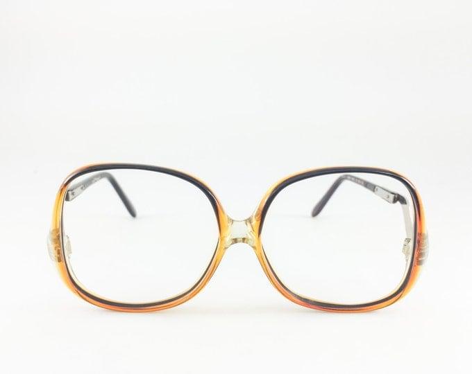 Vintage 80s Glasses | Sergio Valente Oversized Round Eyeglass Frame | NOS Black and Amber Ombre 1980s Eyeglasses - Deanna XX