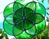 Seed of Life Sacred Geometry Green Mandala Stained Glass Sun Catcher Tiffany Style Glass Art Suncatcher Ready to Ship Gift Idea