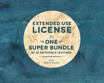 Extended Use Commercial License for use with one Super Bundle of up to 36 Patterns and-or Textures
