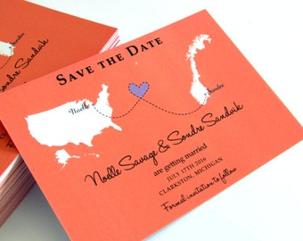 Wedding Save the Date Invitation with Maps for Long Distance Relationship