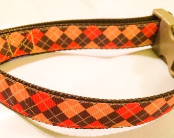 Autumn Argyle Dog Collar