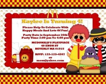 Mcdonald's, Ronald, Happy Meals Invitation,Personalized Invite, DIY Printable Invitation , Announcements, Print At Home