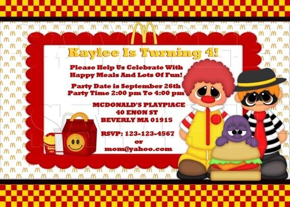 Mcdonalds Ronald Happy Meals InvitationPersonalized