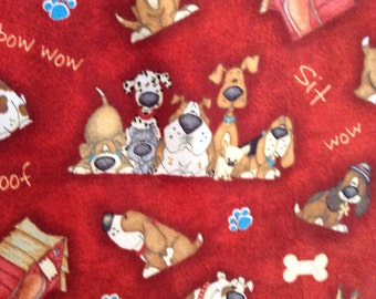 One Half Yard of Fabric - A Dogs Life Rust Brown