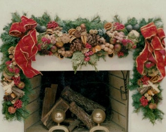 Rustic Christmas Fireplace Wreath with Fruits, Nuts and Red Bows