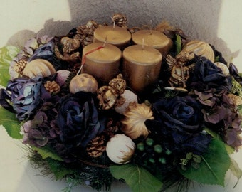 Large Advent Wreath with Blues and Gold