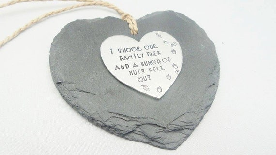 Funny Slate hanging heart decoration, decorative handstamped personalised