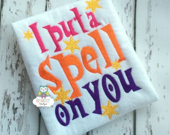 I put a spell on you shirt or bodysuit, Halloween shirt, Witch Shirt, Hocus Pocus Shirt, I put a Spell on You, Girl Halloween Shirt, Witch