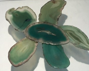 Green Brazilian Agate Slice with NO HOLE- Wedding Place Cards, Knobs, Magnets, Jewelry Making, Crafts and Lightcatchers