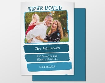Custom Digital Moving Announcement, We've Moved, Move Announcement, 5x7 PRINTABLE or PRINTED - Paint Swatch Photo New Address Cards