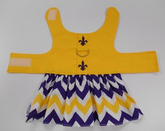 Gold LSU Dog Dress with Fleur de Lis and purple gold chevron