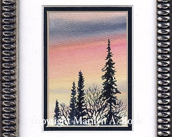 ORIGINAL MINIATURE WATERCOLOR: Framed, matted, scene, skies, sunset, nature, trees, 5 x 7 inches framed, wall art,