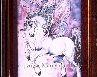 PRINT FRAMED - FANTASY; Fairy horse, 5 x 7 inches, miniature wall art, pearls and sparkle
