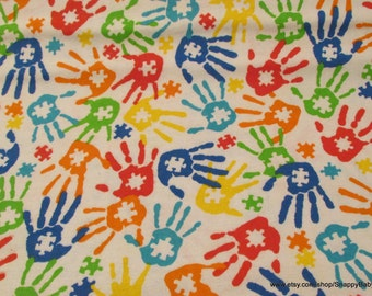 Flannel Fabric - Puzzle Hands - 1 yard - 100% Cotton Flannel