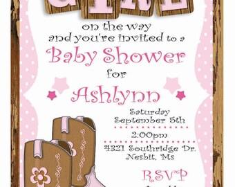 Custom Cowgirl Baby Shower Invitation