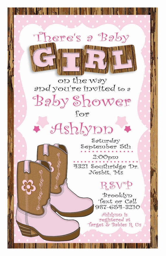 custom cowgirl baby shower invitation