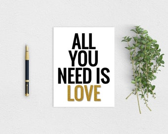 All You Need Is Love Wedding Card Printable Instant Download
