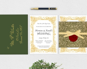 harry potter wedding invitation suite printable instant download - Harry Potter Wedding Invitations