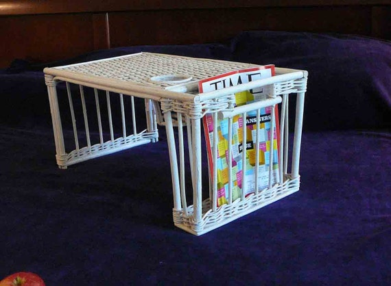 Vintage White Wicker Breakfast Bed Tray Shabby Chic Airy