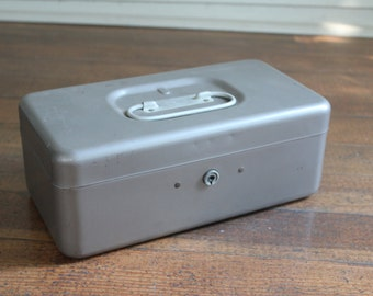 Vintage Gray Metal Box with Handle - Locking Box (Office Master Products No. 923)