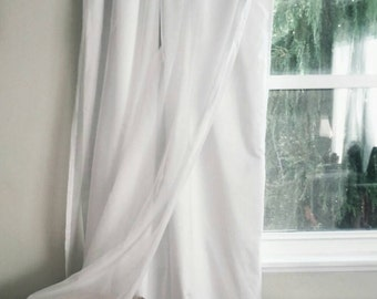 White Blackout Curtain with Voile Overlay - One Panel - Custom Order Privacy Drapes - Bedroom Noise Reducing Light Blocking Drapery Curtains