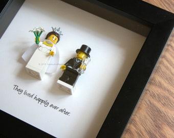 Wedding Centerpiece - LEGO Art Frame - Bride & Groom - LEGO Minifigure Display - Wedding Gift - Picture Frames Displays - Wedding Gift