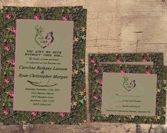 camo wedding invitation pink doe hunter pink camo pink and green camoflauge - Camouflage Wedding Invitations