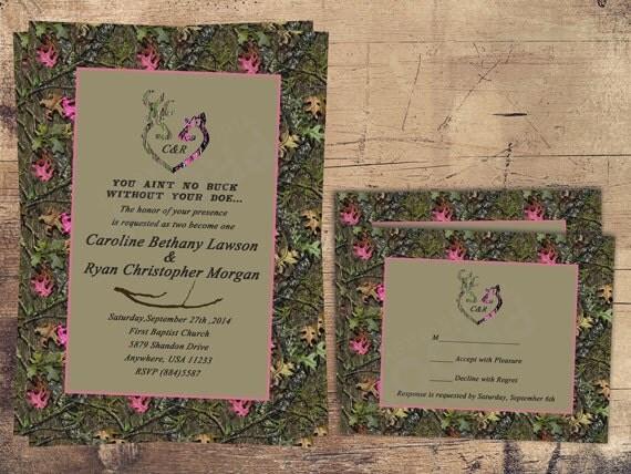 Camo Wedding Invitation Pink Doe Hunter Pink Camo Pink And