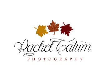 """INSTANT DOWNLOAD Custom Premade Photography Logo and Watermark """"Glitter Leaf"""" - Fully Custom Font and Color"""