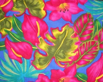 Vintage 90s Hawaiian Island Print Tropical Fabric 3 Yds x 44""