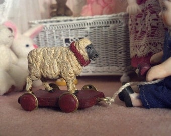 Miniature pull toy sheep 1/12 scale 17139