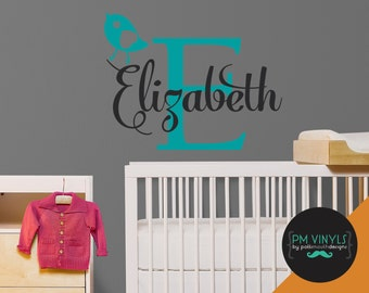 Personalized Monogram Bird Baby Nursery Wall Decal - MON005