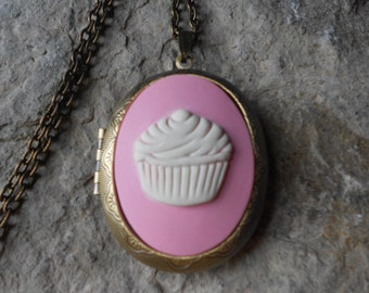 Cupcake Cameo Locket - Pink - Antiqued Bronze, Baker, Bakery, Pastry Chef, Quality
