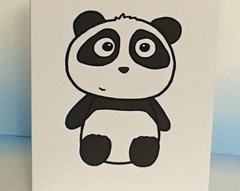 Cute Panda card - Panda Birthday card - Baby card -blank inside