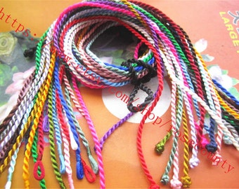 High quality Wholesale 100pcs 18-19 inch 2mm thickness mixed color(more than 20 colors) satin twist cords necklace