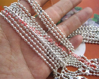 Wholesale 100pcs 18 inch Silver plated 2.4mm Ball chain necklace with lobster clasps