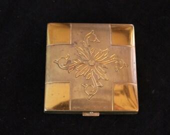 Vintage Gold Tone Floral Compact. Mirror, Powder Press, Square, Vanity, Mid Century