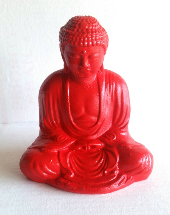 Buddha statue red plaster painted antique by lazarusstatuary for Red top gypsum plaster