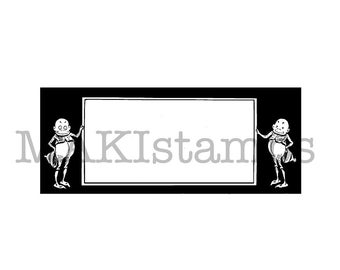 Label rubber stamp with Brownies / Text field stamp / Unmounted rubber stamp (150521)