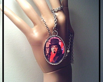 Wearable Art Pendant Necklace, SVENGOOLIE Chicago TV & Comic Con's Favorite Horror Movie Host, in Silver w Chain