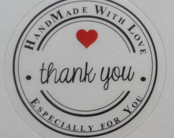 """30 35mm Stickers Labels Round with inscription """"Handmade whit Love  - Thank you"""" Color Shiny White 35mm gift tag"""