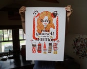 Dolly Parton Screen Print GOLD Edition - Hand Printed Silk Screen Poster - Kitchen Art